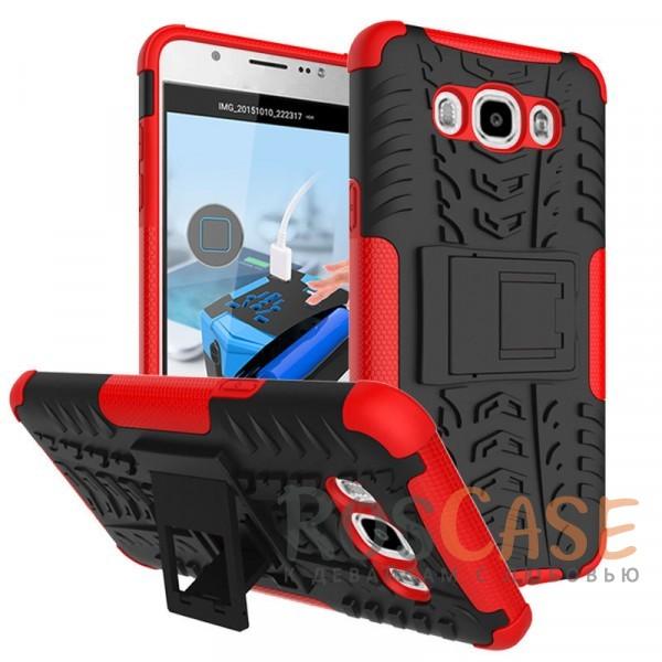 Противоударный двухслойный чехол Shield для Samsung J710F Galaxy J7 (2016) с подставкой (Красный)Описание:разработан специально для Samsung J710F Galaxy J7 (2016);материалы: поликарбонат, термополиуретан;тип: накладка.&amp;nbsp;Особенности:двухслойный;ударопрочный;оригинальный дизайн;стильный дизайн;в наличии все функциональные вырезы;функция подставки.<br><br>Тип: Чехол<br>Бренд: Epik<br>Материал: TPU