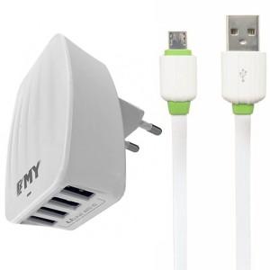 "EMY MY-233 | Сетевое зарядное устройство (4USB 4.4A) + кабель MicroUSB для Apple iPhone 7 Plus (5.5"")"