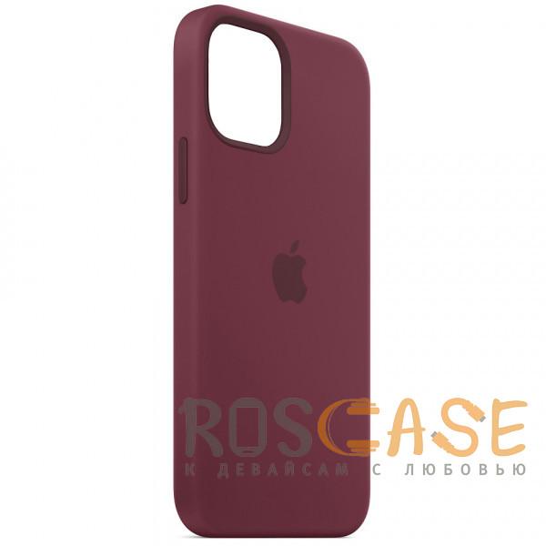 Фотография Бордовый Силиконовый чехол Silicone Case с микрофиброй для iPhone 12 Mini