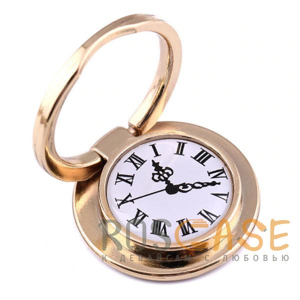 """Фото Золотой Универсальный магнитный держатель с кольцом для телефона """"Часы"""""""