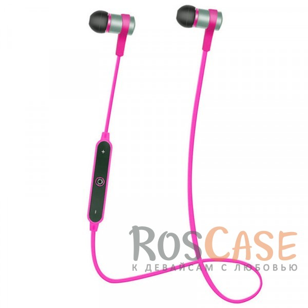 Фото Розовый s6-1 | Спортивные беспроводные Bluetooth наушники с пультом управления и микрофоном