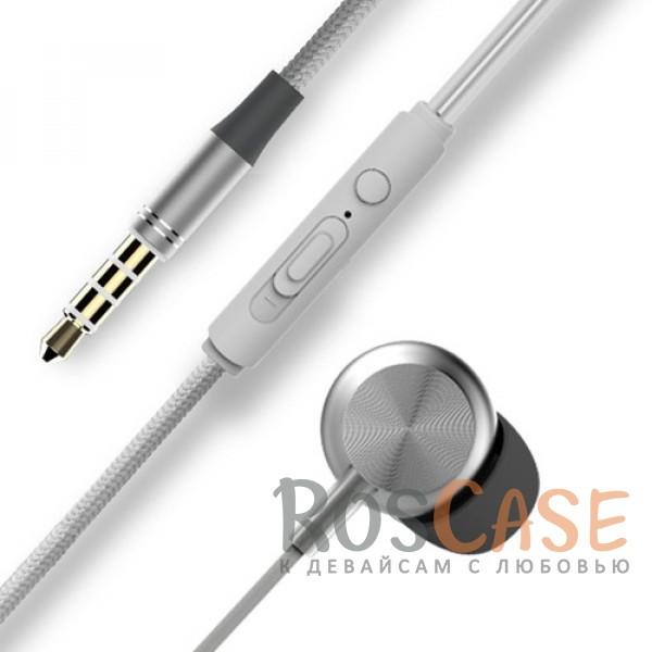 Фото Серебряный / Silver ROCK Y2 | Наушники с плетеным кабелем и пультом