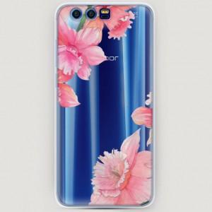 RosCase | Силиконовый чехол Розовые цветочные уголки на Huawei Honor 9