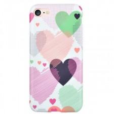 """Силиконовая накладка Devia Vivid Case """"Сердечки"""" для Apple iPhone 7 (4.7"""")"""