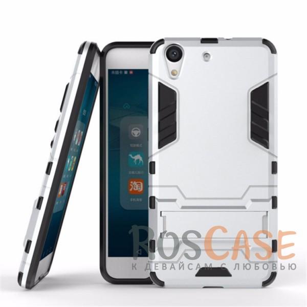 Ударопрочный чехол-подставка Transformer для Huawei Y6 II с мощной защитой корпуса (Серебряный / Satin Silver)Описание:подходит для Huawei Y6 II;материалы: термополиуретан, поликарбонат;формат: накладка.&amp;nbsp;Особенности:функциональные вырезы;функция подставки;двойная степень защиты;защита от механических повреждений;не скользит в руках.<br><br>Тип: Чехол<br>Бренд: Epik<br>Материал: TPU