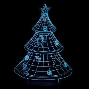 """Светодиодный 3D светильник-ночник с проекцией объемного изображения """"Новогодняя ёлка"""" для Подарки для девушки"""