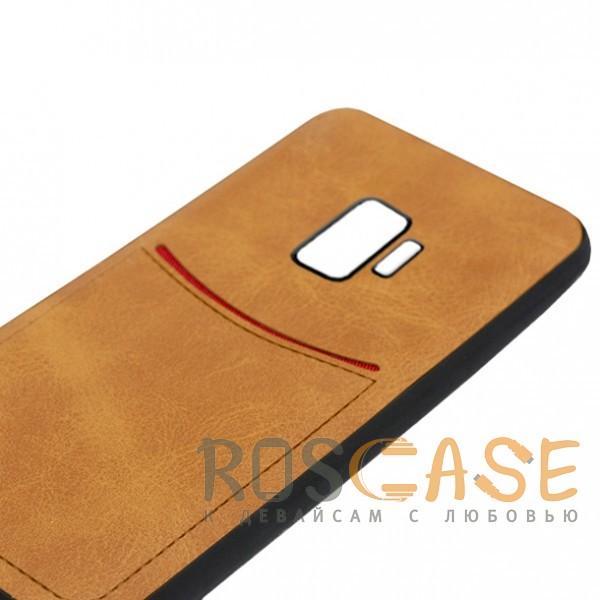 Фото Светло-коричневый ILEVEL | Чехол с кожаным покрытием и с карманом-визитницей для Samsung Galaxy S9