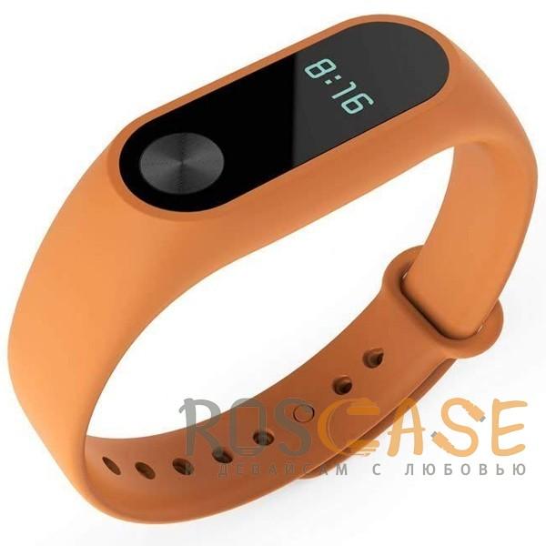 Изображение Оранжевый Одноцветный силиконовый ремешок для фитнес-браслета Xiaomi Mi Band 2