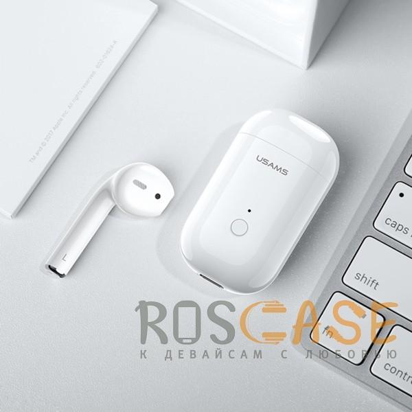 Фотография Белый USAMS-LB (МОНО) | Беспроводной наушник Bluetooth с микрофоном и кейсом подзарядкой (Док-станция)