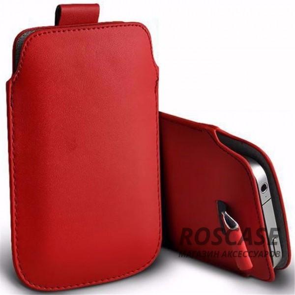 Кожаный чехол футляр с язычком для телефона 3.5-4.8 дюйма (Красный)