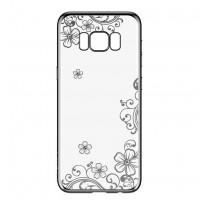 Devia Crystal Joyous | Силиконовый чехол для Samsung G955 Galaxy S8 Plus со стразами и цветочным узором