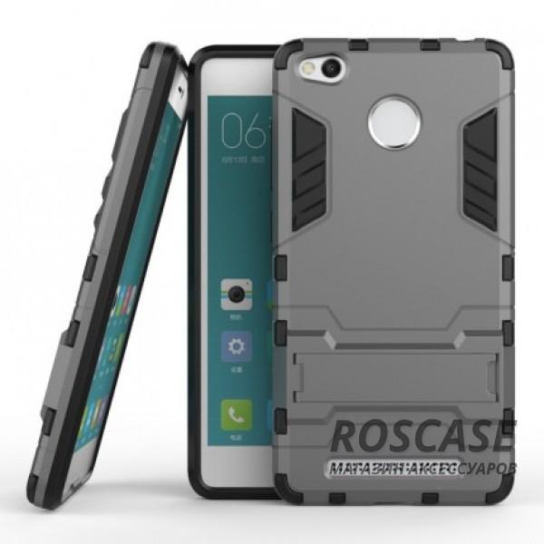 Ударопрочный чехол-подставка Transformer для Xiaomi Redmi 3 Pro / Redmi 3s с мощной защитой корпуса (Металл / Gun Metal)Описание:подходит для Xiaomi Redmi 3 Pro / Redmi 3s;материалы: термополиуретан, поликарбонат;формат: накладка.&amp;nbsp;Особенности:функциональные вырезы;функция подставки;двойная степень защиты;защита от механических повреждений;не скользит в руках.<br><br>Тип: Чехол<br>Бренд: Epik<br>Материал: TPU