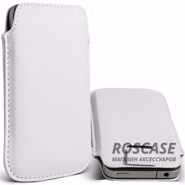 Кожаный чехол (футляр) для смартфона (140 x 75) (Белый)Описание:производитель  -  Epik;совместимость: устройства с габаритами &amp;nbsp;140*75 мм;материал  -  искусственная кожа;форма  -  футляр.&amp;nbsp;Особенности:тонкий дизайн не увеличивает габариты;не скользит в руках;язычок для извлечения устройства;защищает от ударов и царапин;на нем не видны отпечатки пальцев;размер - &amp;nbsp;140 x 75 мм.<br><br>Тип: Чехол<br>Бренд: Epik<br>Материал: Искусственная кожа