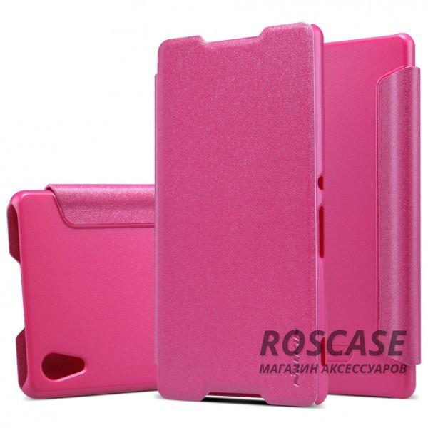 Кожаный чехол (книжка) Nillkin Sparkle Series для Sony Xperia Z3+/Xperia Z3+ Dual (Розовый)Описание:бренд&amp;nbsp;Nillkin;совместимость: Sony Xperia Z3+/Xperia Z3+ Dual;материалы: искусственная кожа, поликарбонат;тип: чехол-книжка.Особенности:не заметны отпечатки пальцев;защита от механических повреждений;не теряет цвет;блестящая поверхность;надежная фиксация.<br><br>Тип: Чехол<br>Бренд: Nillkin<br>Материал: Искусственная кожа