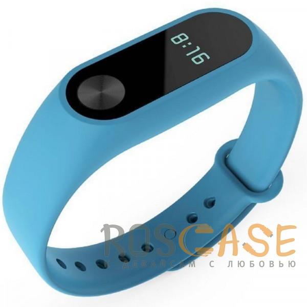 Изображение Голубой Одноцветный силиконовый ремешок для фитнес-браслета Xiaomi Mi Band 2
