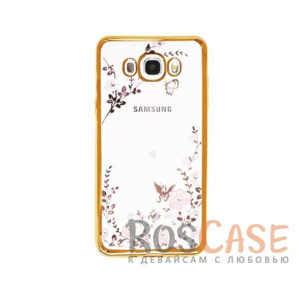 Прозрачный чехол с цветами и стразами для Samsung J710F Galaxy J7 (2016) с глянцевым бампером (Золотой/Розовые цветы)Описание:совместим с Samsung J710F Galaxy J7 (2016);материал - термополиуретан;тип - накладка.&amp;nbsp;Особенности:прозрачный;изящный рисунок;украшен стразами;защищает от царапин и ударов;не скользит в руках.<br><br>Тип: Чехол<br>Бренд: Epik<br>Материал: TPU
