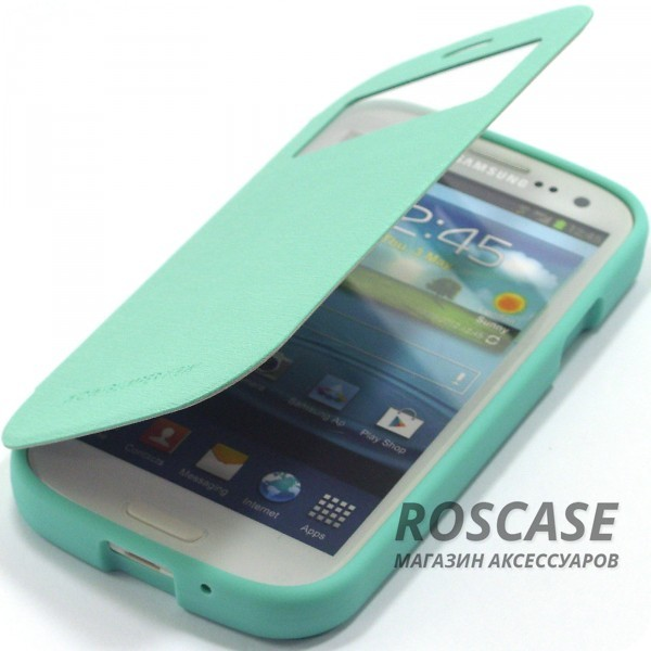 Чехол (книжка) Mercury Wow Bumper series для Samsung i9300 Galaxy S3 (Бирюзовый)Описание:производитель  - &amp;nbsp;Mercury;совместимость - Samsung i9300 Galaxy S3;материалы  -  искусственная кожа, термополиуретан;тип  -  чехол-книжка.Особенности:все функциональные вырезы в наличии;интерактивное окошко Smart window;слот для визиток;ударопрочный;защищает смартфон со всех сторон;легко устанавливается;не скользит в руках.<br><br>Тип: Чехол<br>Бренд: Mercury<br>Материал: Искусственная кожа