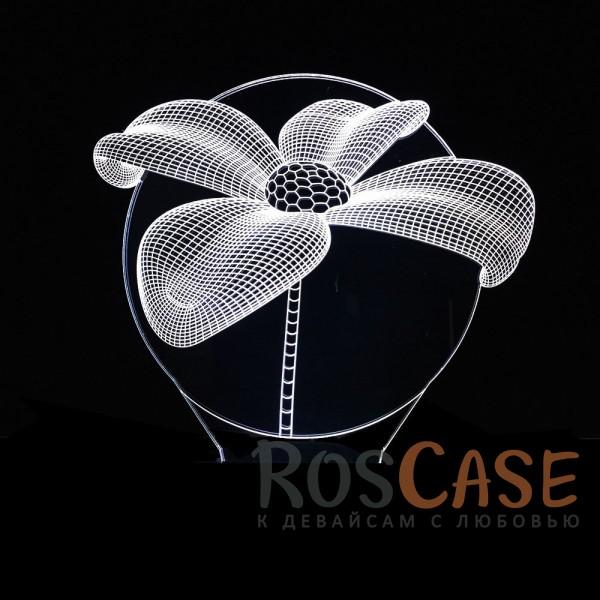 """Фото Цветок Светодиодный 3D светильник-ночник с проекцией объемного изображения """"Цветок"""""""