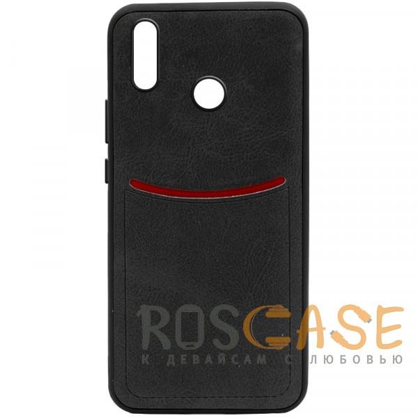 Фото Черный ILEVEL | Чехол с кожаным покрытием и с карманом-визитницей для Huawei P20 Lite