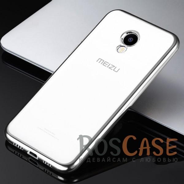 Фото Серебряный Силиконовый чехол для Meizu M5 с глянцевой окантовкой