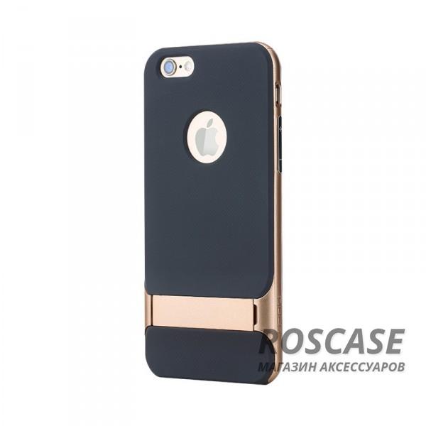 TPU+PC чехол Rock Royce Series с функцией подставки для Apple iPhone 6/6s plus (5.5) (Черный / Золотой)Описание:изготовитель: компания&amp;nbsp;Rock;совместим с Apple iPhone 6/6s plus (5.5);произведен из термопластичного полиуретана и качественного поликарбоната;тип крепления: накладка;поверхность: частично матовая, частично глянцевая.Особенности:защищает от повреждений при падениях;имеет двойную конструкцию;функция подставки;не скользит в руках.<br><br>Тип: Чехол<br>Бренд: ROCK<br>Материал: TPU