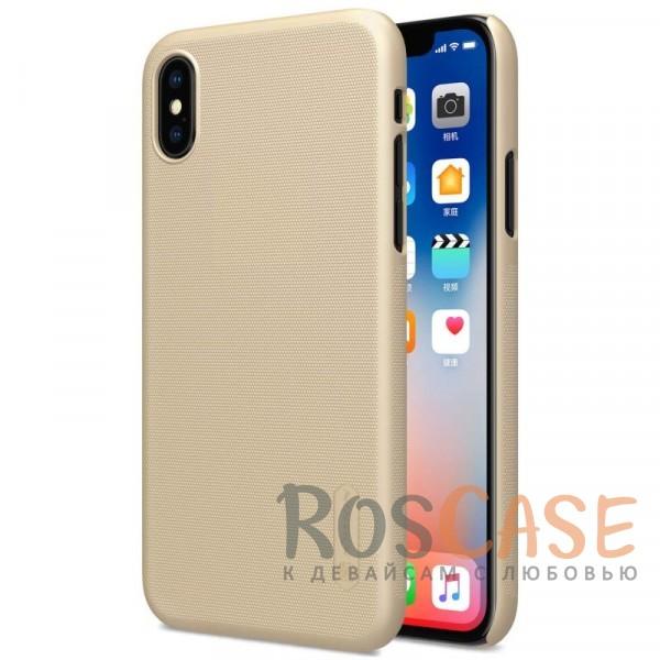 Матовый чехол Nillkin Super Frosted Shield для Apple iPhone X (5.8) (+ пленка) (Золотой)Описание:бренд&amp;nbsp;Nillkin;совместимость: Apple iPhone X (5.8);материал: поликарбонат;тип: накладка;закрывает заднюю панель и боковые грани;защищает от ударов и царапин;рельефная фактура;не скользит в руках;ультратонкий дизайн;защитная плёнка на экран в комплекте.<br><br>Тип: Чехол<br>Бренд: Nillkin<br>Материал: Поликарбонат