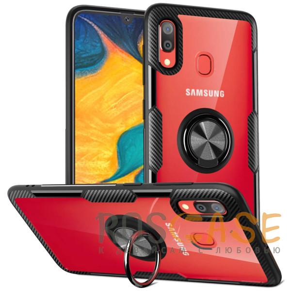 Фотография Бесцветный / Черный TPU+PC чехол Deen CrystalRing под магнитный держатель для Samsung Galaxy A20 / A30