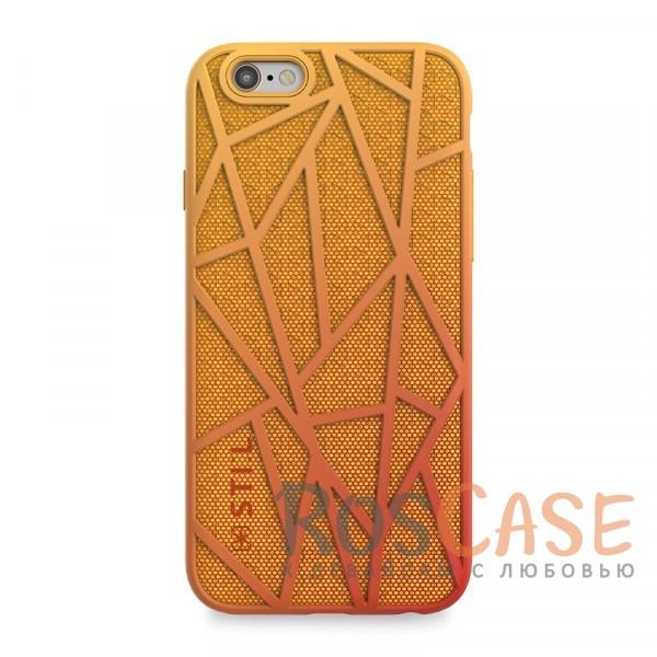 Красочный защитный чехол из пластика и ткани STIL Free Run с градиентной расцветкой для  Apple iPhone 6/6s (4.7) (Оранжевый)Описание:создан компанией&amp;nbsp;STIL;разработан с учетом особенностей&amp;nbsp;Apple iPhone 6/6s (4.7);материалы - термополиуретан, поликарбонат, ткань;тип - накладка.Особенности:неповторимый стиль - яркий градиент;доступ ко всем функциям гаджета благодаря точным вырезам;защита от перегрева аппарата;защита от царапин и ударов;защита экрана благодаря выступающим бортикам;размеры - 143*72*11 мм, 22&amp;nbsp;гр.<br><br>Тип: Чехол<br>Бренд: Stil<br>Материал: TPU
