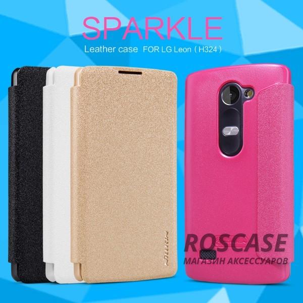 Кожаный чехол (книжка) Nillkin Sparkle Series для LG H324 LeonОписание:бренд&amp;nbsp;Nillkin;изготовлен специально для LG H324 Leon;материал: искусственная кожа, поликарбонат;тип: чехол-книжка.Особенности:не скользит в руках;защита от механических повреждений;не выгорает;блестящая поверхность;надежная фиксация.<br><br>Тип: Чехол<br>Бренд: Nillkin<br>Материал: Искусственная кожа