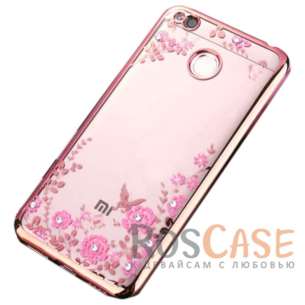 Прозрачный чехол с цветами и стразами для Xiaomi Redmi 4X с глянцевым бампером (Розовый золотой/Розовые цветы)