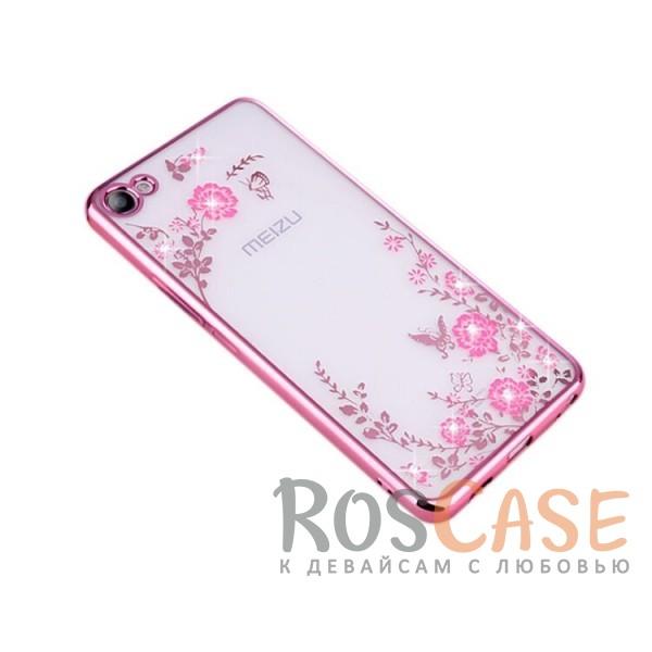 Фото Розовый золотой/Розовые цветы Прозрачный чехол со стразами для Meizu U20 с глянцевым бампером