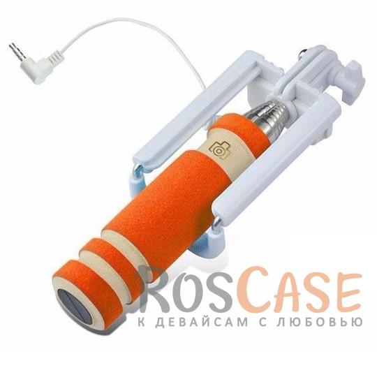 Фото Оранжевый Телескопический Mini монопод для селфи (кабель 3,5) (13.8см - 48см)