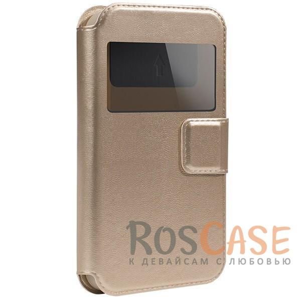 Универсальный чехол-книжка с окошком и магнитом Gresso Норман для смартфона 4.5-4.8 дюйма (Золотой)Описание:бренд -&amp;nbsp;Gresso;совместимость -&amp;nbsp;смартфоны с диагональю 4.5-4.8&amp;nbsp;дюйма;материал - искусственная кожа;тип - чехол-книжка;защищает гаджет со всех сторон;магнитная застежка;окошко в обложке;предусмотрены все функциональные вырезы;ВНИМАНИЕ: убедитесь, что ваша модель устройства находится в пределах максимального размера чехла. Размеры чехла: 14*7 см.<br><br>Тип: Чехол<br>Бренд: Gresso<br>Материал: Искусственная кожа