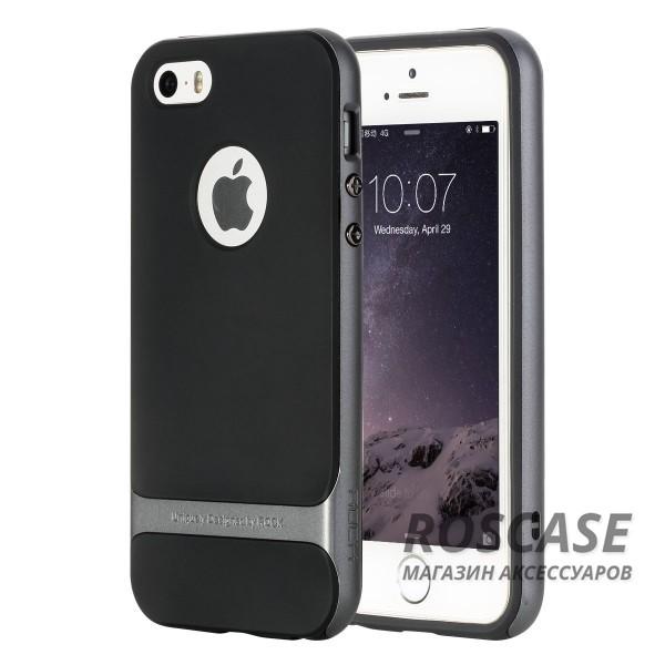 TPU+PC чехол Rock Royce Cross Series для Apple iPhone 5/5S/SE (Черный / Серый)Описание:производитель  -  компания&amp;nbsp;Rock;совместим с Apple iPhone 5/5S/SE;материалы  -  полиуретан, поликарбонат;тип  -  накладка.&amp;nbsp;Особенности:тонкий и легкий;окантовка из поликарбоната;в наличии все функциональные вырезы;легкая очистка;хорошее сцепление с поверхностями;защищает от механических повреждений;легкая установка и удаление.<br><br>Тип: Чехол<br>Бренд: ROCK<br>Материал: TPU
