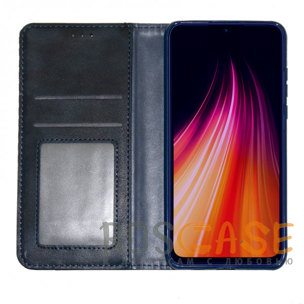 Изображение Синий Business Wallet | Кожаный чехол книжка с визитницей для Xiaomi Redmi Note 9T