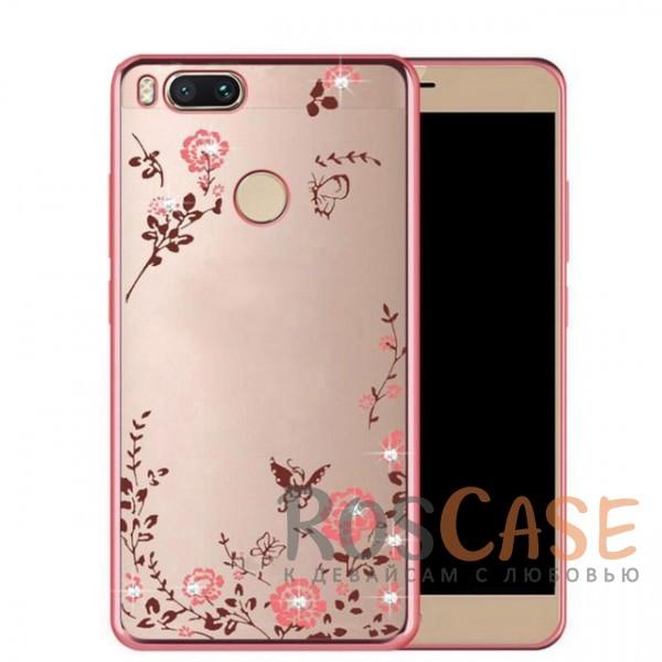 Прозрачный чехол с цветами и стразами для Xiaomi Mi 5X / Mi A1 с глянцевым бампером (Розовый золотой/Розовые цветы)Описание:совместимость - Xiaomi Mi 5X / Mi A1;глянцевая окантовка, цветочный узор;материал - TPU;тип - накладка;защита от царапин, трещин, ударов;легко устанавливается;не скользит в руках;не заметны отпечатки пальцев;все необходимые функциональные вырезы.<br><br>Тип: Чехол<br>Бренд: Epik<br>Материал: TPU