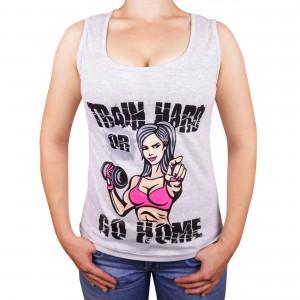 "Muscle Rabbit   Женская майка с принтом ""Train hard"""
