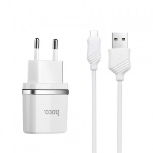 Сетевое зарядное устройство HOCO C11 1USB 1A + кабель Micro USB
