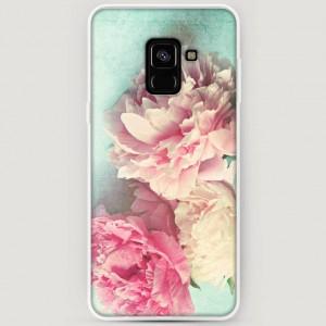 RosCase | Силиконовый чехол Пионы new на Samsung A530 Galaxy A8 (2018)