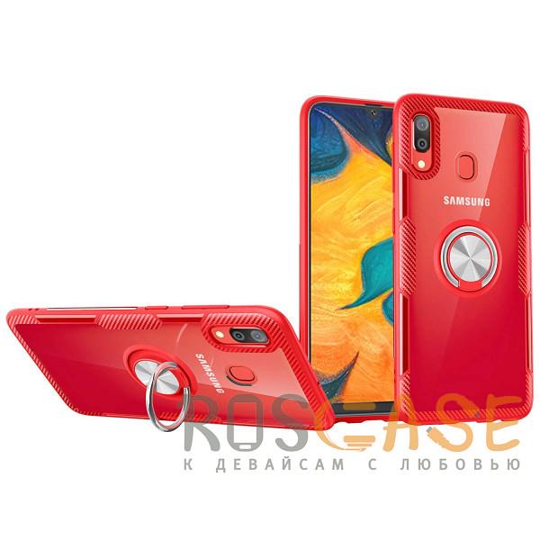 Фото Бесцветный / Красный TPU+PC чехол Deen CrystalRing под магнитный держатель для Samsung Galaxy A20 / A30