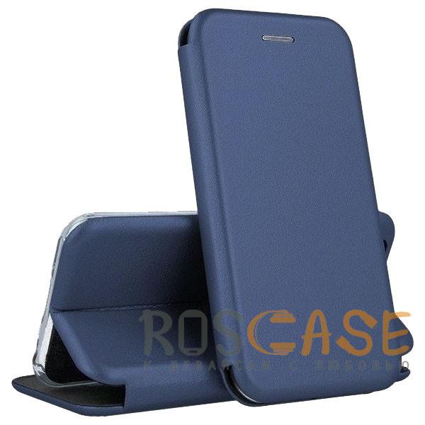 Фото Синий Open Color | Кожаный чехол-книжка для Xiaomi Redmi Note 10 Pro с функцией подставки и магнитом