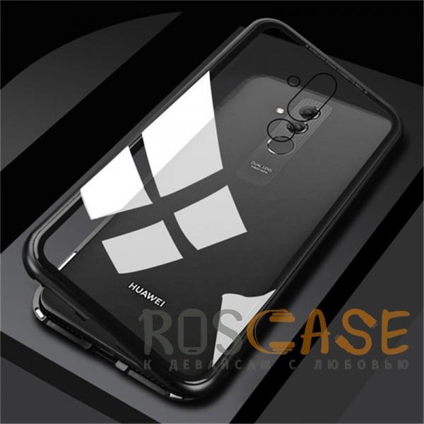 Фото Черный Металлический бампер с задней стеклянной вставкой на магнитной защелке для Huawei Mate 20 lite