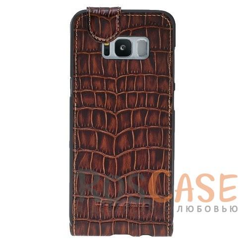 Фотография Вертикальный чехол-флип из натуральной кожи с фактурой крокодиловой кожи с магнитной застежкой для Samsung Galaxy S8 (G950)