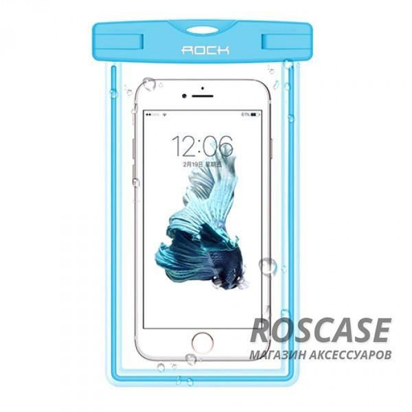 Водонепроницаемый чехол Rock Light (Синий / Blue)Описание:производитель -&amp;nbsp;Rock;совместимость: смартфоны с диагональю до 6-ти дюймов;используемый материал: мягкий пластик;форма: чехол.Особенности:износостойкий;светится в темноте;стильный;ультратонкий;защита от влаги;погружение от 1,5 до 30-ти метров;максимальное время - 30 минут.<br><br>Тип: Чехол<br>Бренд: ROCK<br>Материал: Пластик