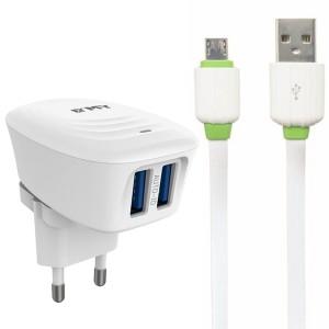 "EMY MY-228 | Сетевое зарядное устройство (2USB 2.4A) + кабель MicroUSB для Apple iPhone 7 Plus (5.5"")"