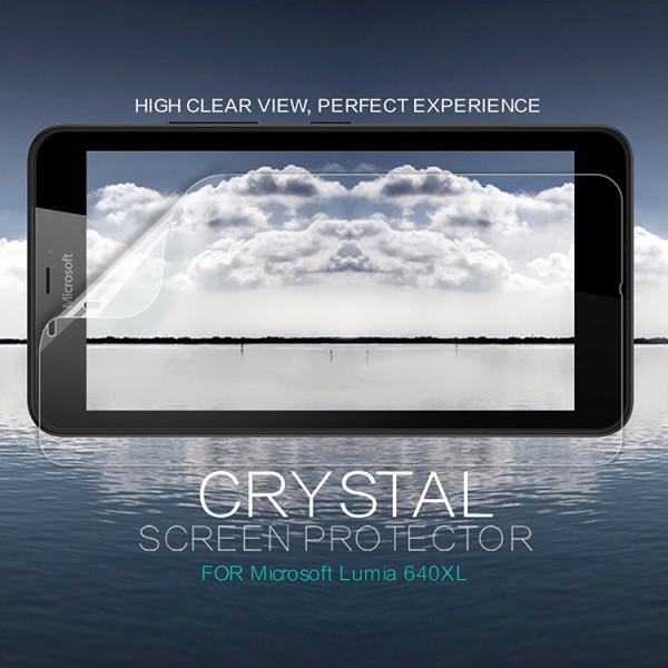 Защитная пленка Nillkin Crystal для Microsoft Lumia 640XLОписание:бренд:&amp;nbsp;Nillkin;совместима с Microsoft Lumia 640XL;материал: полимер;тип: защитная пленка.&amp;nbsp;Особенности:в наличии все необходимые функциональные вырезы;не влияет на чувствительность сенсора;глянцевая поверхность;свойство анти-отпечатки;не желтеет;легко очищается.<br><br>Тип: Защитная пленка<br>Бренд: Nillkin