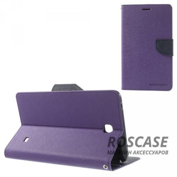 Чехол (книжка) Mercury Fancy Diary series для Samsung Galaxy Tab 4 7.0 (Фиолетовый / Синий)Описание:производитель  -  бренд&amp;nbsp;Mercury;совместим с Samsung Galaxy Tab 4 7.0;материалы  -  искусственная кожа, термополиуретан;форма  -  чехол-книжка.&amp;nbsp;Особенности:рельефная поверхность;все функциональные вырезы в наличии;внутренние кармашки;магнитная застежка;защита от механических повреждений;трансформируется в подставку.<br><br>Тип: Чехол<br>Бренд: Mercury<br>Материал: Искусственная кожа