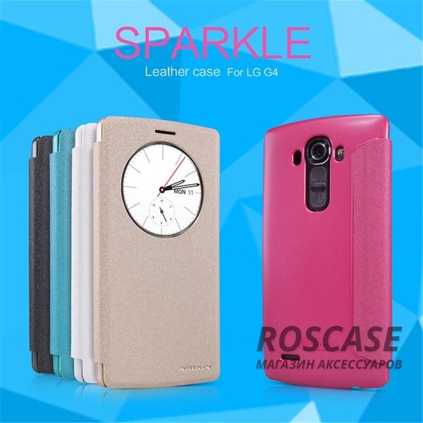 Кожаный чехол (книжка) Nillkin Sparkle Series для LG H815 G4/H818P G4 DualОписание:бренд&amp;nbsp;Nillkin;совместимость: LG H815 G4/H818P G4 Dual;материалы: искусственная кожа, поликарбонат;тип: чехол-книжка.Особенности:не заметны отпечатки пальцев;защита от механических повреждений;окошко Smart window;не теряет цвет;блестящая поверхность;надежная фиксация.<br><br>Тип: Чехол<br>Бренд: Nillkin<br>Материал: Искусственная кожа