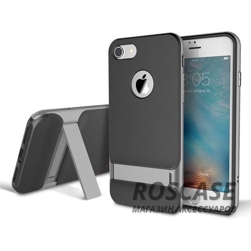 TPU+PC чехол Rock Royce Series с функцией подставки для Apple iPhone 7 plus (5.5) (Черный / Серый)Описание:изготовитель: компания Rock;совместимость: смартфоны Apple iPhone 7 plus (5.5);произведен из термопластичного полиуретана и качественного поликарбоната;тип крепления: накладка;поверхность: частично матовая, частично глянцевая.Особенности:защищает от повреждений при падениях;имеет двойную конструкцию;имеет функцию подставки;позиционируется как аксессуар с интересным нетривиальным дизайном.<br><br>Тип: Чехол<br>Бренд: ROCK<br>Материал: TPU