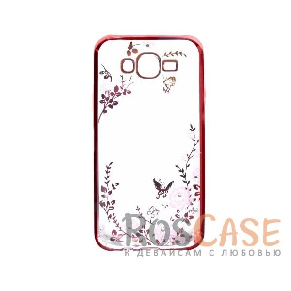 Прозрачный чехол с цветами и стразами для Samsung J500H Galaxy J5 с глянцевым бампером (Розовый золотой/Розовые цветы)Описание:совместим с Samsung J500H Galaxy J5;материал - термополиуретан;тип - накладка.&amp;nbsp;Особенности:прозрачный;изящный рисунок;украшен стразами;защищает от царапин и ударов;не скользит в руках.<br><br>Тип: Чехол<br>Бренд: Epik<br>Материал: TPU
